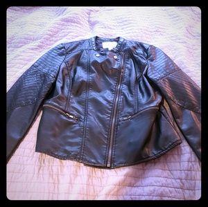 NWT Faux leather moto jacket size large